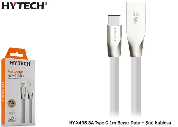 Hytech HY-X405 3A Type-C 1m Beyaz Data + Şarj Kablosu