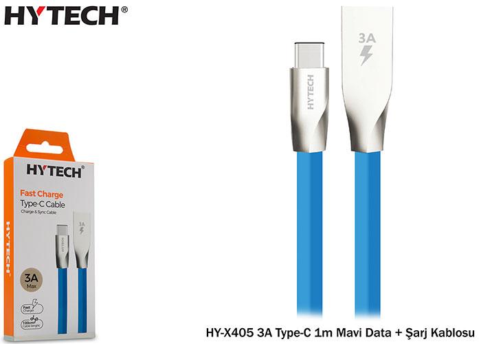 Hytech HY-X405 3A Type-C 1m Mavi Data + Şarj Kablosu