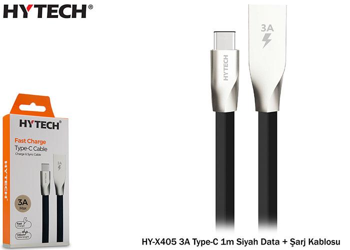 Hytech HY-X405 3A Type-C 1m Siyah Data + Şarj Kablosu