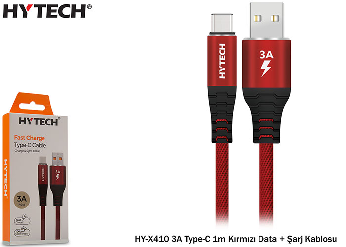 Hytech HY-X410 2A Type-C 1m Red Data + Charging Cable