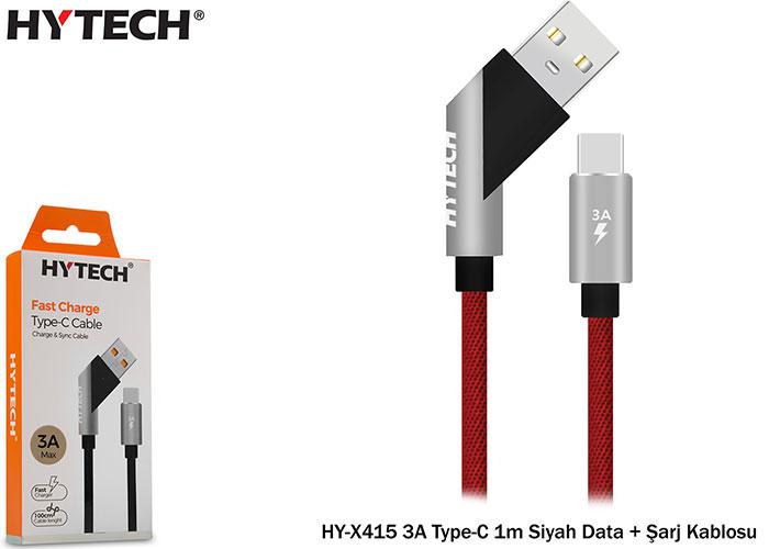 Hytech HY-X415 3A Type-C 1m Siyah Data + Şarj Kablosu