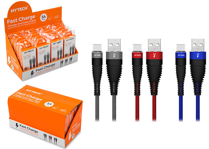 Hytech HY-X425 2A Type-C 1m Red Data + Charging Cable