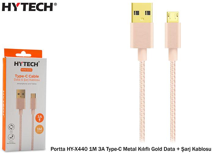 Hytech Portta HY-X440 1M 3A Type-C Metal Kılıflı Gold Data + Şarj Kablosu