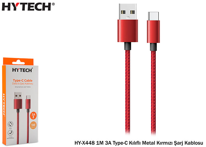 Hytech HY-X448 1M 3A Type-C Kılıflı Metal Kırmızı Şarj Kablosu