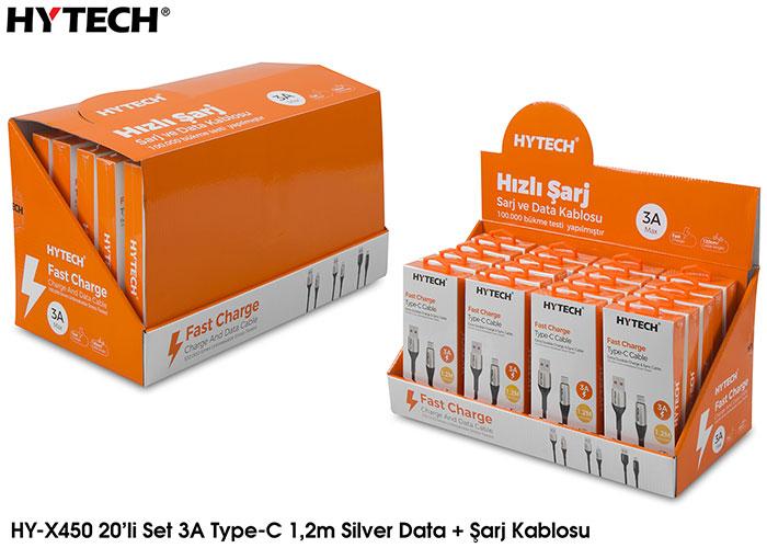 Hytech HY-X450 3A Type-C 1,2m Silver Data + Şarj Kablosu