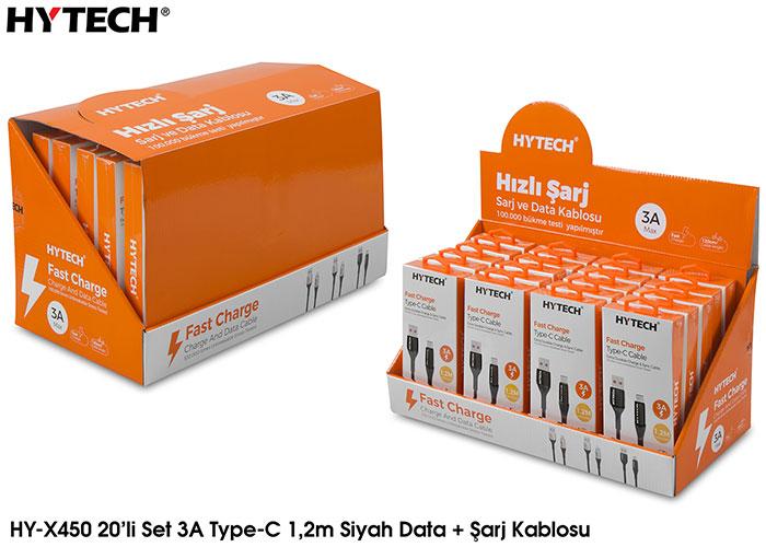 Hytech HY-X450 3A Type-C 1,2m Siyah Data + Şarj Kablosu