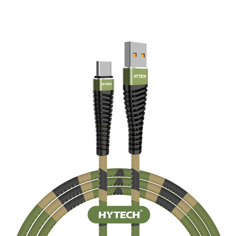 Hytech HY-X475 1.2M 3A Type-C Kamuflaj Desenli Kılıflı Yeşil Data + Sarj Kablosu