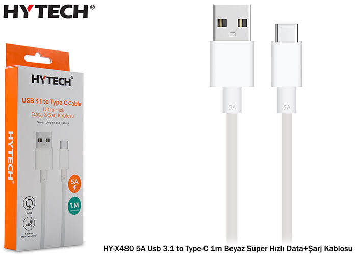 Hytech HY-X480 5A Usb 3.1 to Type-C 1m Beyaz Süper Hızlı Data+Şarj Kablosu