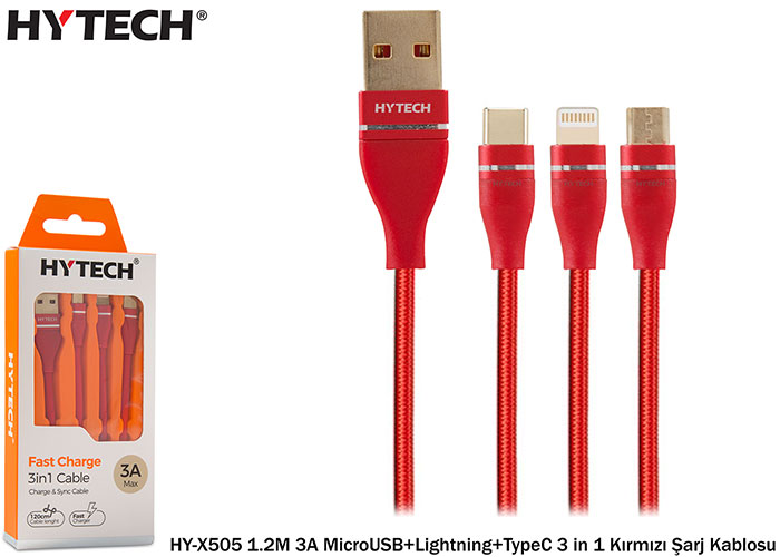Hytech HY-X505 1.2M 3A MicroUSB + Lightning + TypeC 3 in 1 Red Charging Cable