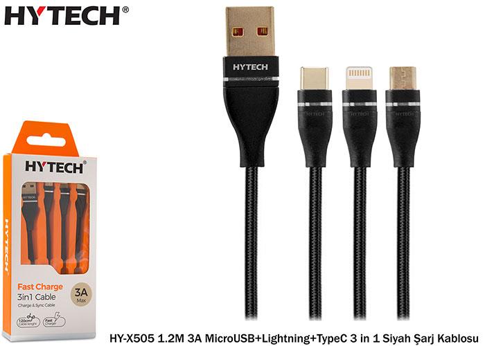 Hytech HY-X505 1.2M 3A MicroUSB+Lightning+TypeC 3 in 1 Siyah Şarj Kablosu
