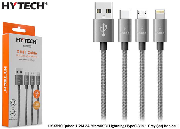 Hytech HY-X510 Quboo 1.2M 3A MicroUSB+Lightning+TypeC 3 in 1 Grey Şarj Kablosu