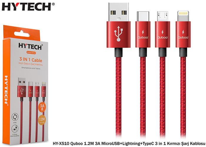 Hytech HY-X510 Quboo 1.2M 3A MicroUSB+Lightning+TypeC 3 in 1 Kırmızı Şarj Kablosu