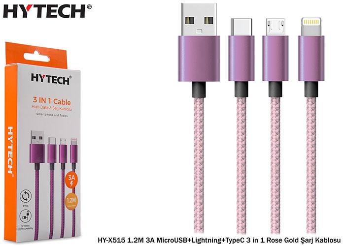 Hytech HY-X515 1.2M 3A MicroUSB+Lightning+TypeC 3 in 1 Rose Gold Şarj Kablosu