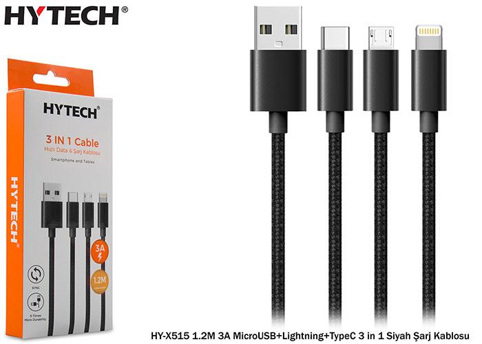 Hytech HY-X515 1.2M 3A MicroUSB+Lightning+TypeC 3 in 1 Siyah Şarj Kablosu