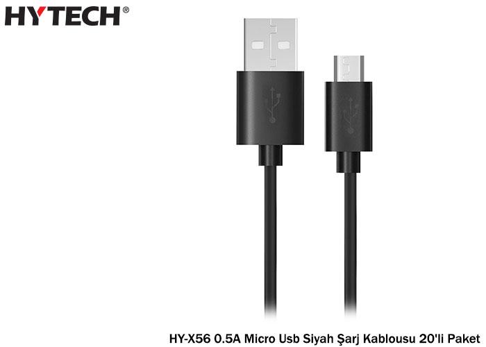 Hytech HY-X56 0.5A Micro Usb Siyah Şarj Kablousu 20li Paket