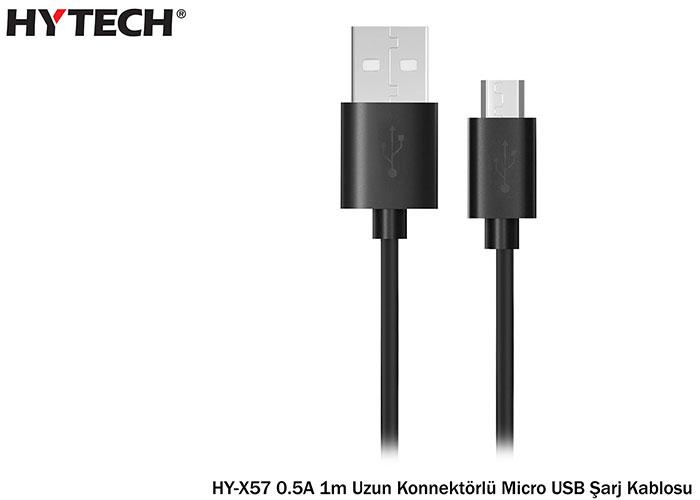 Hytech HY-X57 0.5A 20li Poşet 1m Uzun Konnektörlü Micro USB Şarj Kablosu