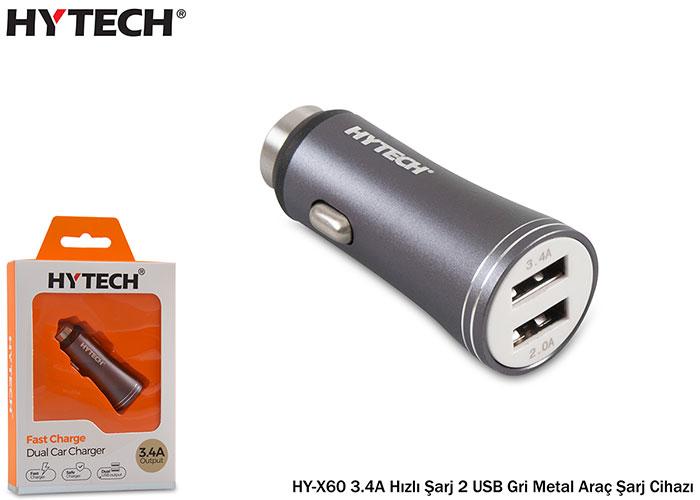Hytech HY-X60 3.4A Hızlı Şarj 2 USB Gri Metal Araç Şarj Cihazı