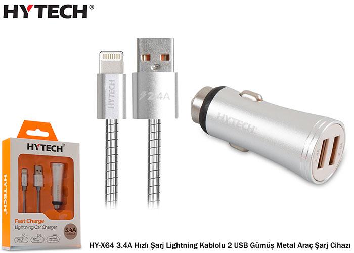 Hytech HY-X64 3.4A Hızlı Şarj Lightning Kablolu 2 USB Gümüş Metal Araç Şarj Cihazı
