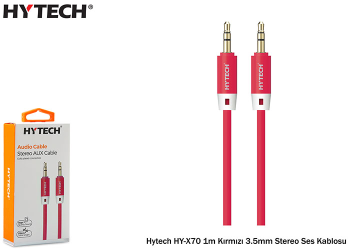 Hytech HY-X70 1m Kırmızı 3.5mm Stereo Ses Kablosu