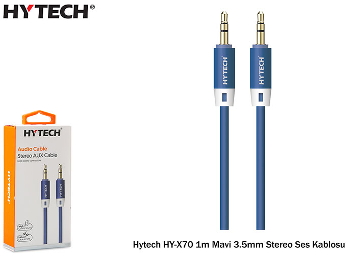 Hytech HY-X70 1m Mavi 3.5mm Stereo Ses Kablosu