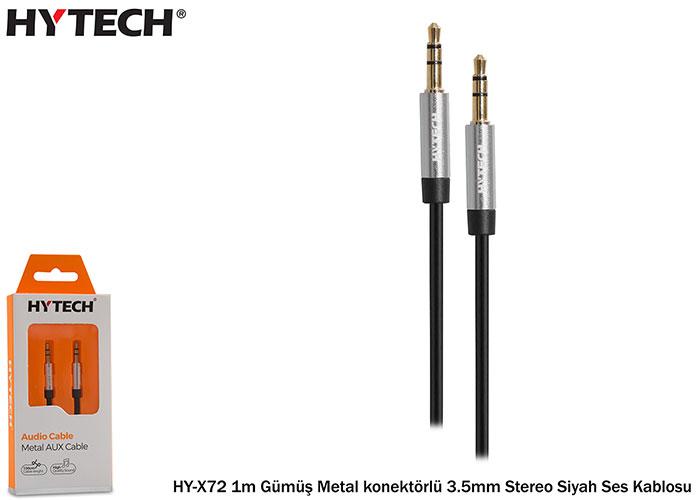 Hytech HY-X72 1m Gümüş Metal konektörlü 3.5mm Stereo Siyah Ses Kablosu