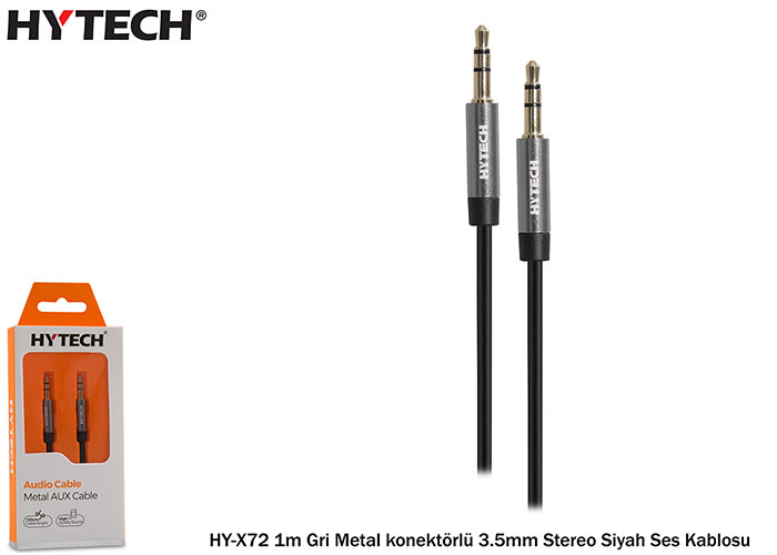 Hytech HY-X72 1m Gri Metal konektörlü 3.5mm Stereo Siyah Ses Kablosu