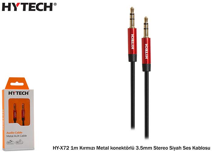 Hytech HY-X72 1m Kırmızı Metal konektörlü 3.5mm Stereo Siyah Ses Kablosu