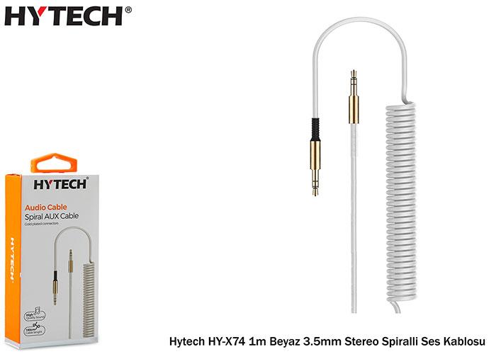 Hytech HY-X74 1m Beyaz 3.5mm Stereo Spiralli Ses Kablosu