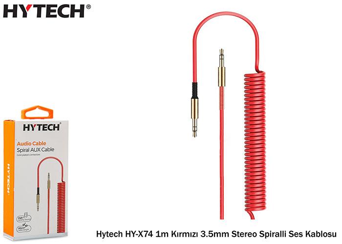 Hytech HY-X74 1m Kırmızı 3.5mm Stereo Spiralli Ses Kablosu