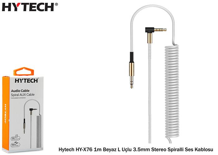 Hytech HY-X76 1m Beyaz L Uçlu 3.5mm Stereo Spiralli Ses Kablosu