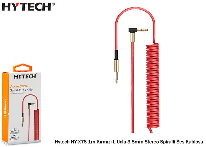 Hytech HY-X76 1m Red L Ended 3.5mm Stereo Spiral Audio Cable