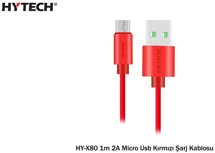 Hytech HY-X80 1m 2A Micro Usb Kırmızı Şarj Kablosu 20li Poşet