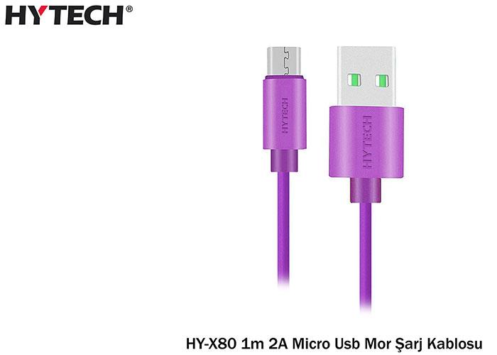 Hytech HY-X80 1m 2A Micro Usb Mor Şarj Kablosu 20li Poşet