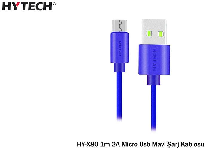 Hytech HY-X80 1m 2A Micro Usb Mavi Şarj Kablosu 20li Poşet