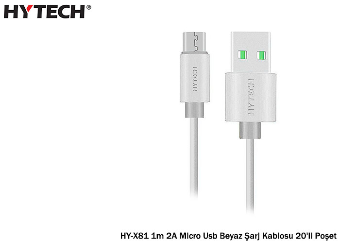 Hytech HY-X81 1m 2A Micro Usb Beyaz Şarj Kablosu 20li Poşet