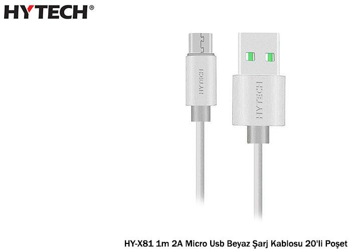 Hytech HY-X81 1m 2A Micro Usb White Charging Cable 20pcs Bag