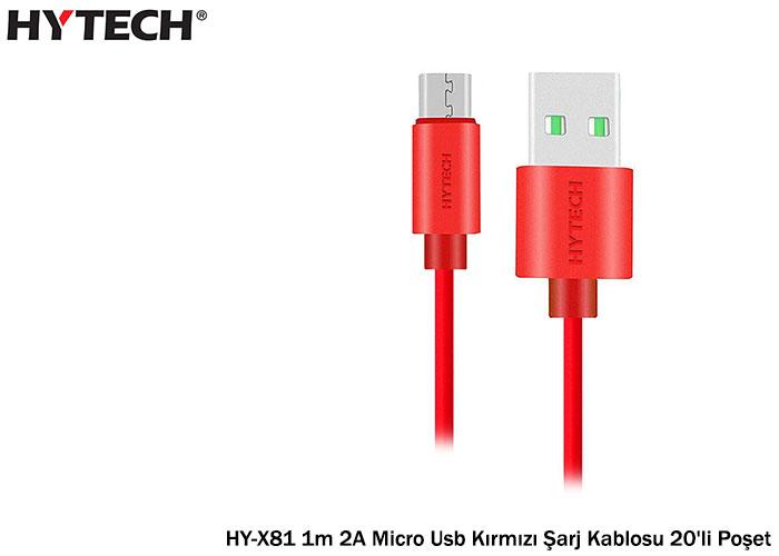 Hytech HY-X81 1m 2A Micro Usb Kırmızı Şarj Kablosu 20li Poşet