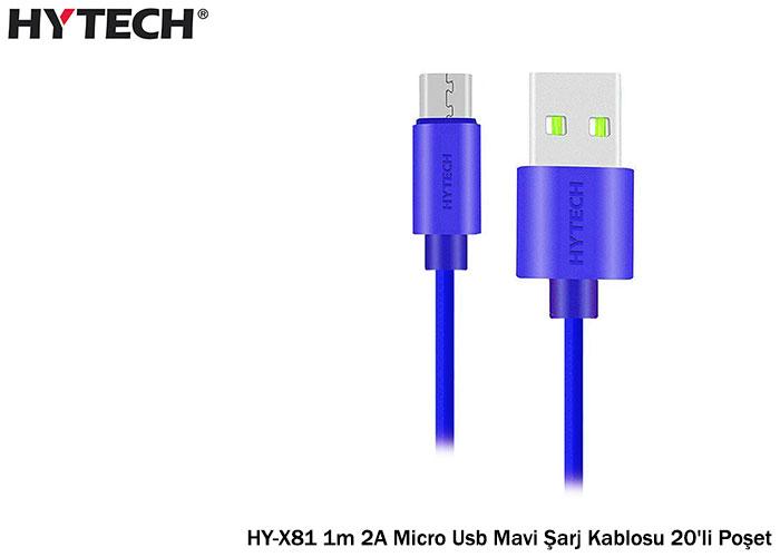 Hytech HY-X81 1m 2A Micro Usb Mavi Şarj Kablosu 20li Poşet