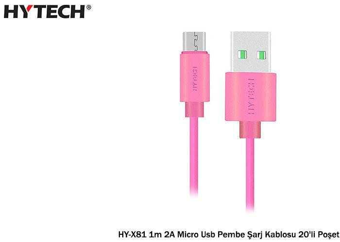 Hytech HY-X81 1m 2A Micro Usb Pembe Şarj Kablosu 20li Poşet