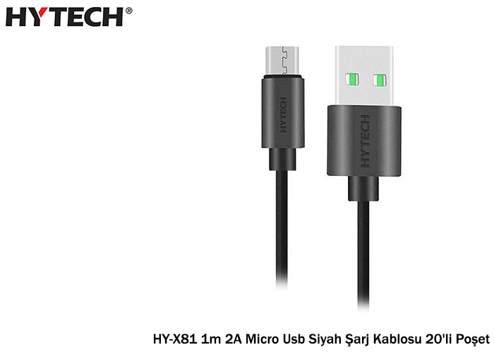 Hytech HY-X81 1m 2A Micro Usb Siyah Şarj Kablosu 20li Poşet