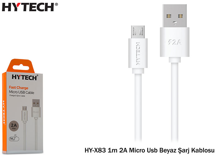 Hytech HY-X82 1m 2A Micro Usb White Charger Cable