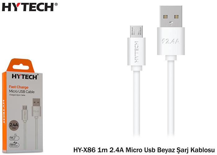 Hytech HY-X86 1m 2.4A Micro Usb Beyaz Şarj Kablosu