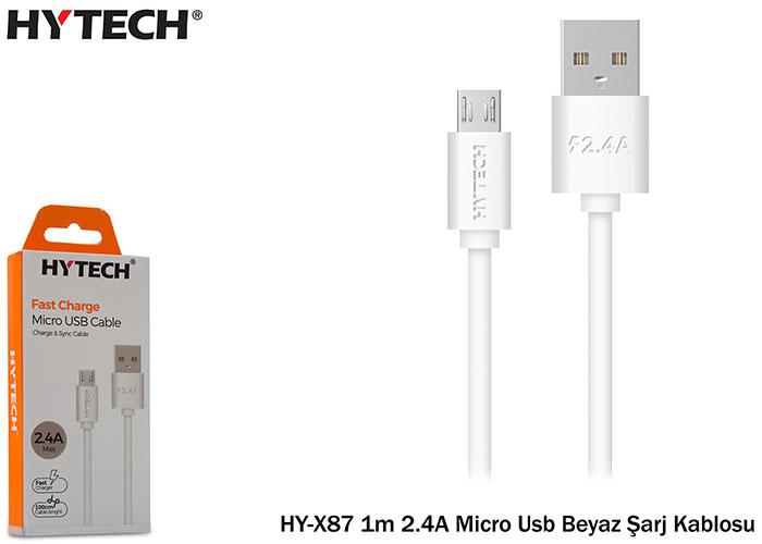 Hytech HY-X87 1m 2.4A Micro Usb Beyaz Şarj Kablosu