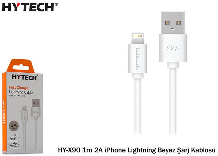 Hytech HY-X90 1m 2A iPhone Lightning Beyaz Şarj Kablosu