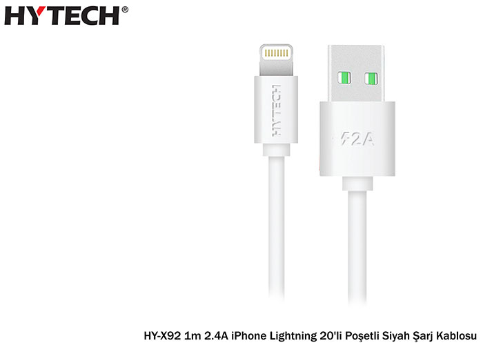 Hytech HY-X92 1m 2.A iPhone Lightning 20li poşet Siyah Şarj Kablosu