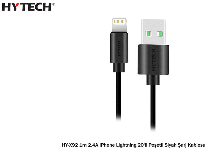 Hytech HY-X92 1m 2.4A iPhone Lightning Bag White Charging Cable