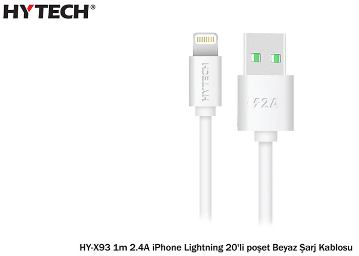 Hytech HY-X93 1m 2.4A iPhone Lightning 20pcs Bag White Charging Cable