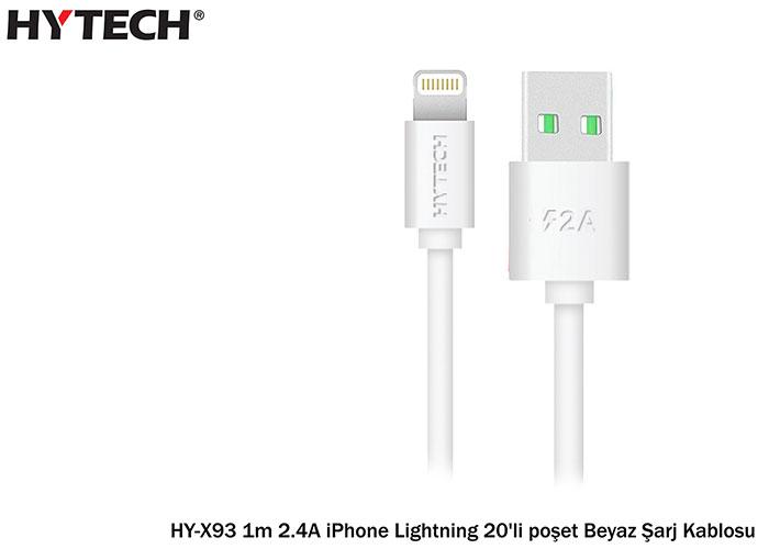 Hytech HY-X93 1m 2.A iPhone Lightning 20li Poşet Beyaz Şarj Kablosu