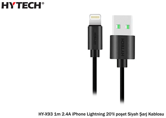 Hytech HY-X93 1m 2.4A iPhone Lightning 20pcs Bag Black Charging Cable