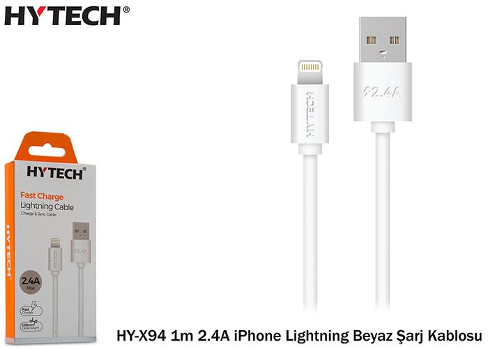 Hytech HY-X94 1m 2.4A iPhone Lightning Beyaz Şarj Kablosu